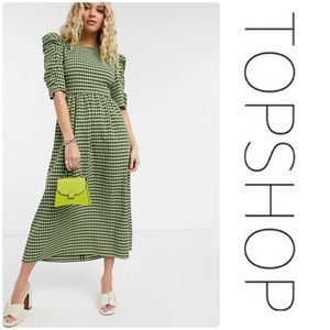 Topshop Gingham Lace-Up Back Dress